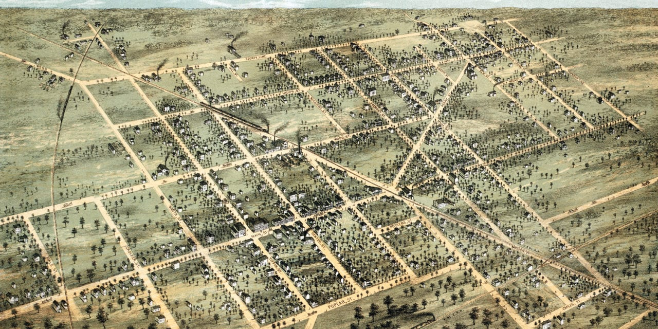 Historic bird's eye view of Fostoria, Ohio from 1872