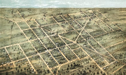 Historic bird's eye view of Fostoria, Ohio from 1872