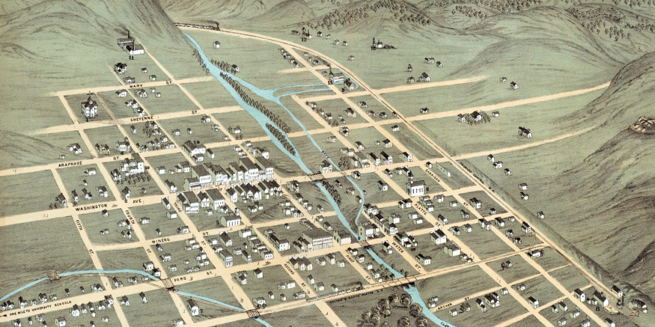 Beautifully restored map of Golden, Colorado from 1873