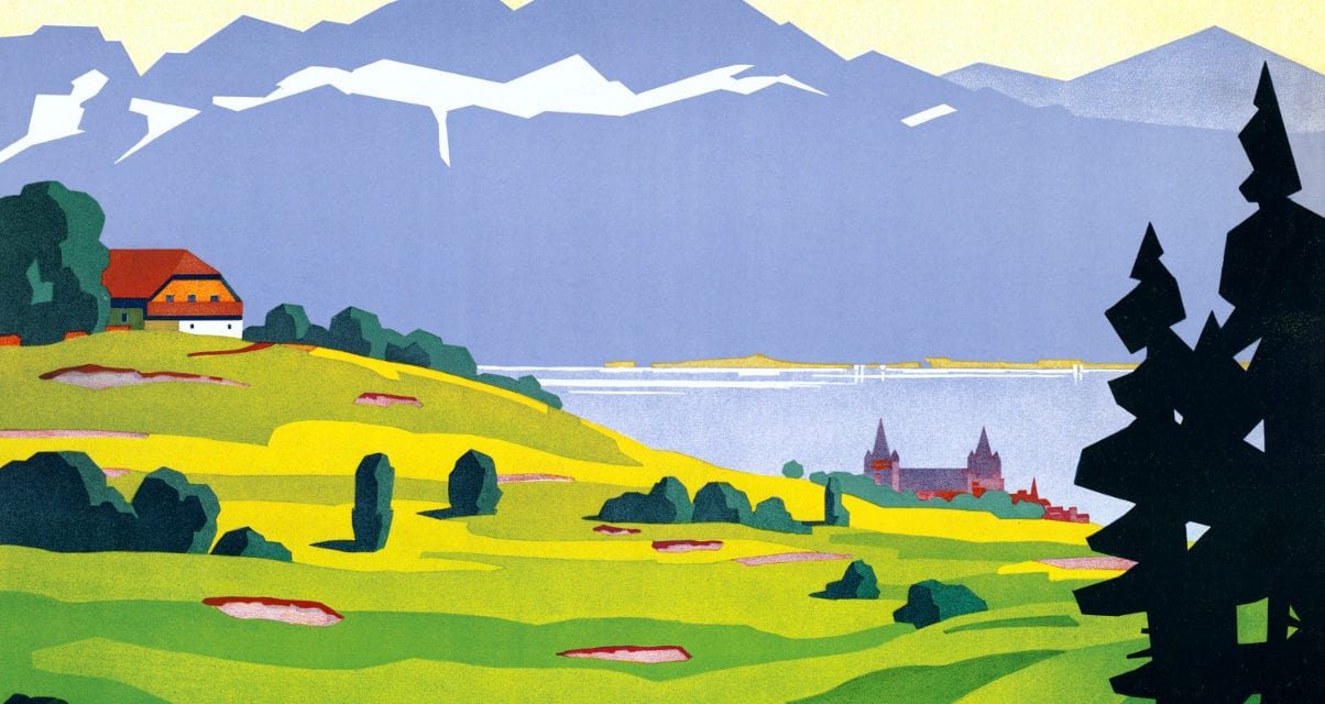 Vintage Golf Lausanne Travel Poster from 1936