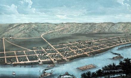 Beautifully restored map of Guttenberg, Iowa from 1869