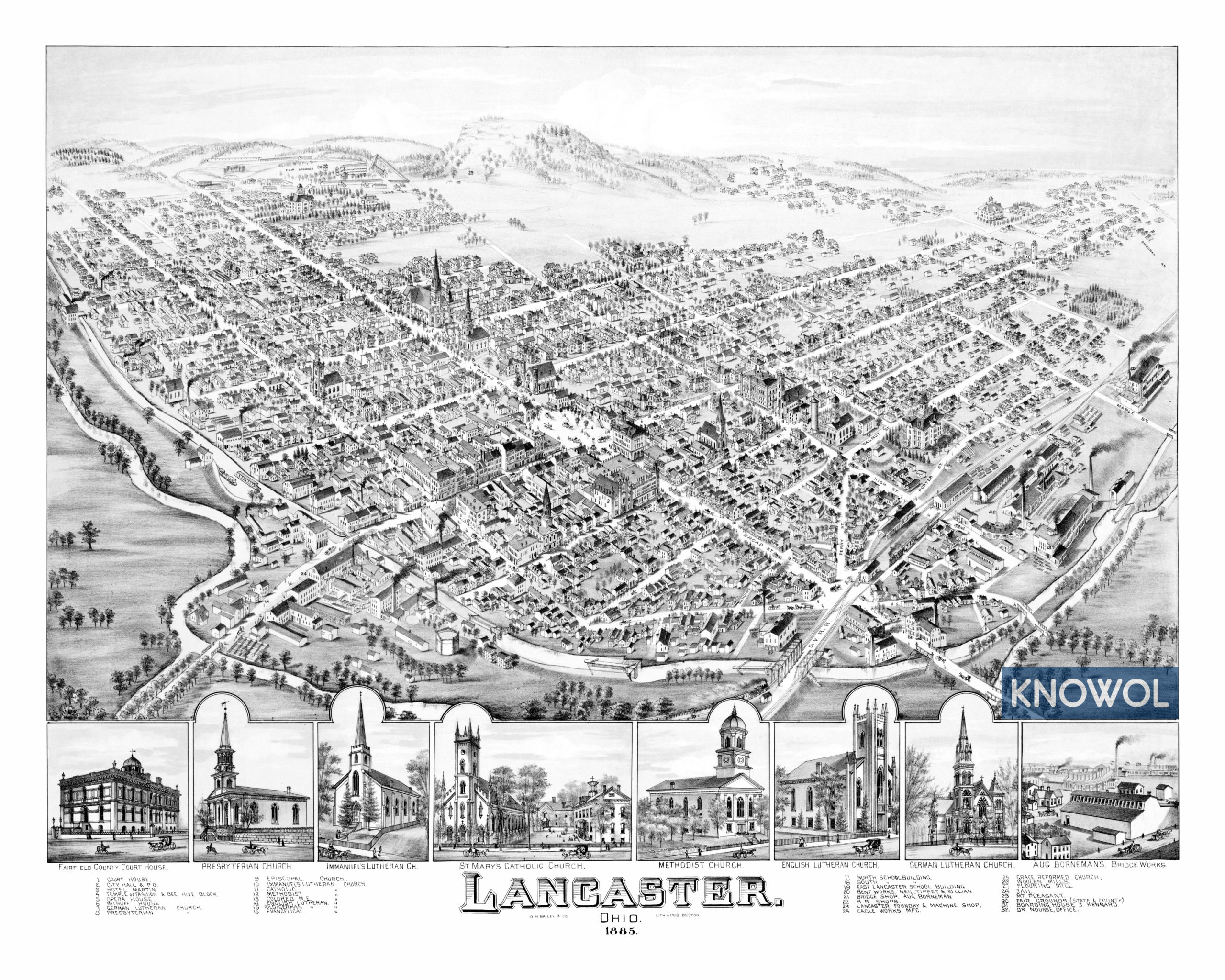 Beautifully restored map of Lancaster, Ohio from 1885 - KNOWOL on map of comsewogue, map of columbia point, map of casselberry, map of locust point, map of university heights, map of lake panasoffkee, map of holly hill, map of oak hill, map of government center, map of gordonsville, map of kenansville, map of cassadaga, map of carrabelle, map of mead, map of pahokee, map of matlacha, map of seaport district, map of long key, map of southwest orlando, map of wimauma,