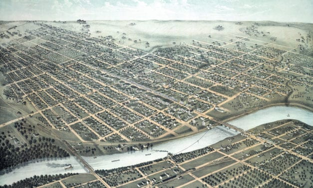 Beautifully restored map of Lawrence, Kansas in 1880