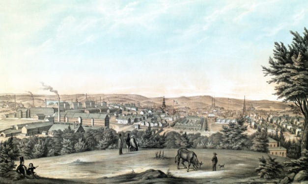 Beautifully restored view of Lawrence, MA from 1854