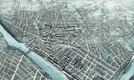 Beautifully restored map of Lowell, Massachusetts from 1876