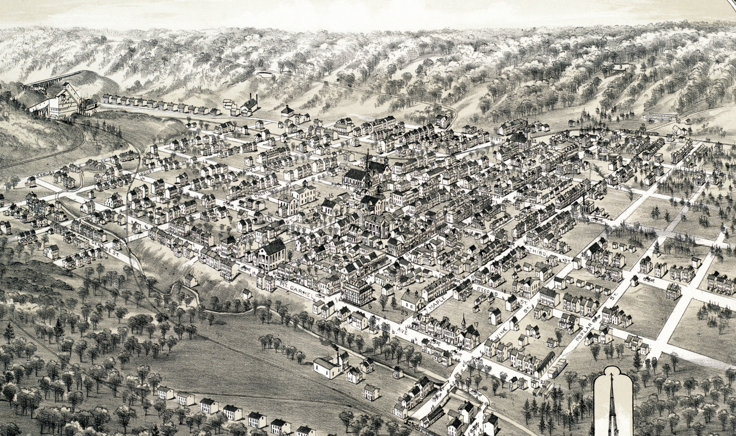 historic old map of mount carmel  pennsylvania from 1884