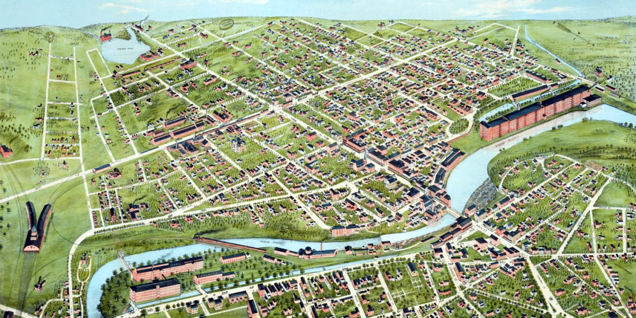 Beautifully restored map of Nashua, New Hampshire from 1875