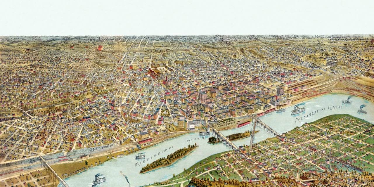 Beautifully restored map of Saint Paul, Minnesota from 1888
