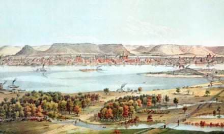 Historic Bird's Eye View of Winona, Minnesota in 1874