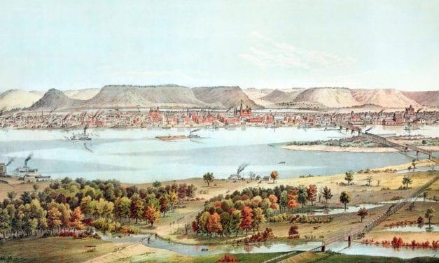 Historic Bird's Eye View of Winona, Minnesota in 1874