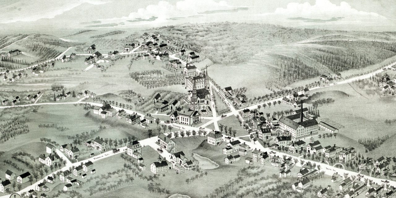 Beautifully restored map of Wrentham, MA from 1888