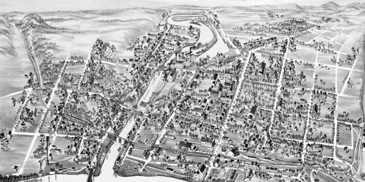 Beautifully restored map of Belvidere, New Jersey from 1883