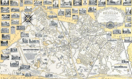 The History of Dedham, MA: beautifully detailed map from 1954
