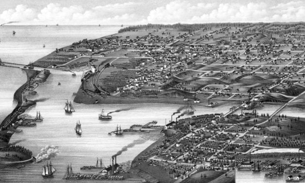Historic bird's eye view map of Ludington, Michigan in 1880