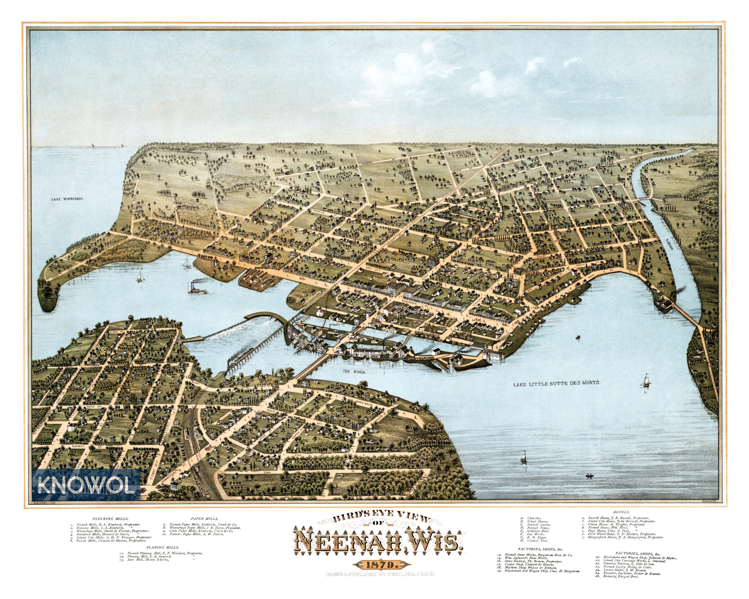 Beautifully Restored Map Of Neenah Wi From 1879 Knowol