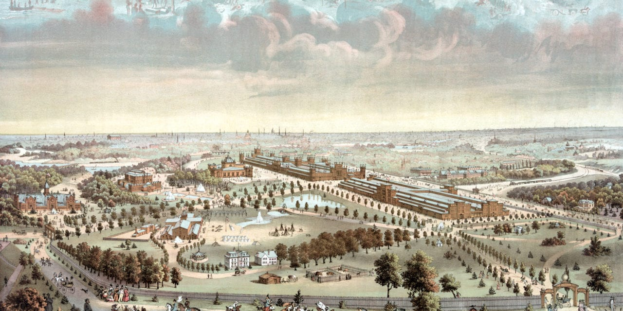 Historic bird's eye view of the Philadelphia World's Fair of 1876