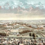 Historic bird's eye view of the Philadelphia World's Fair of 1876