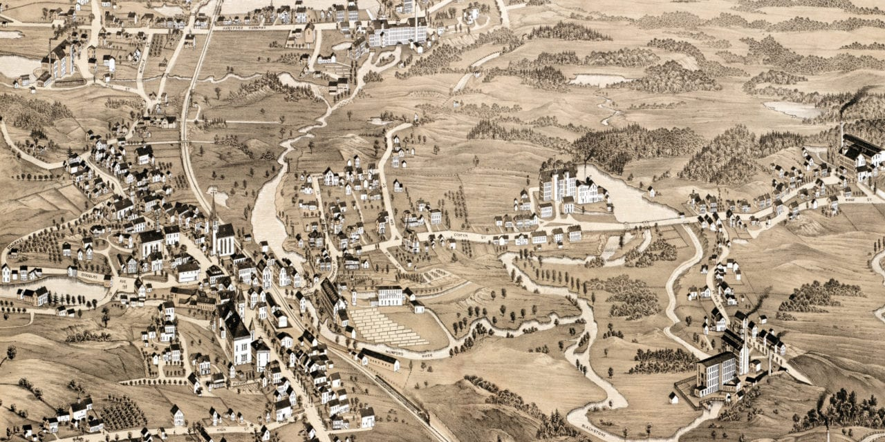 Beautifully restored map of Uxbridge, Massachusetts from 1880