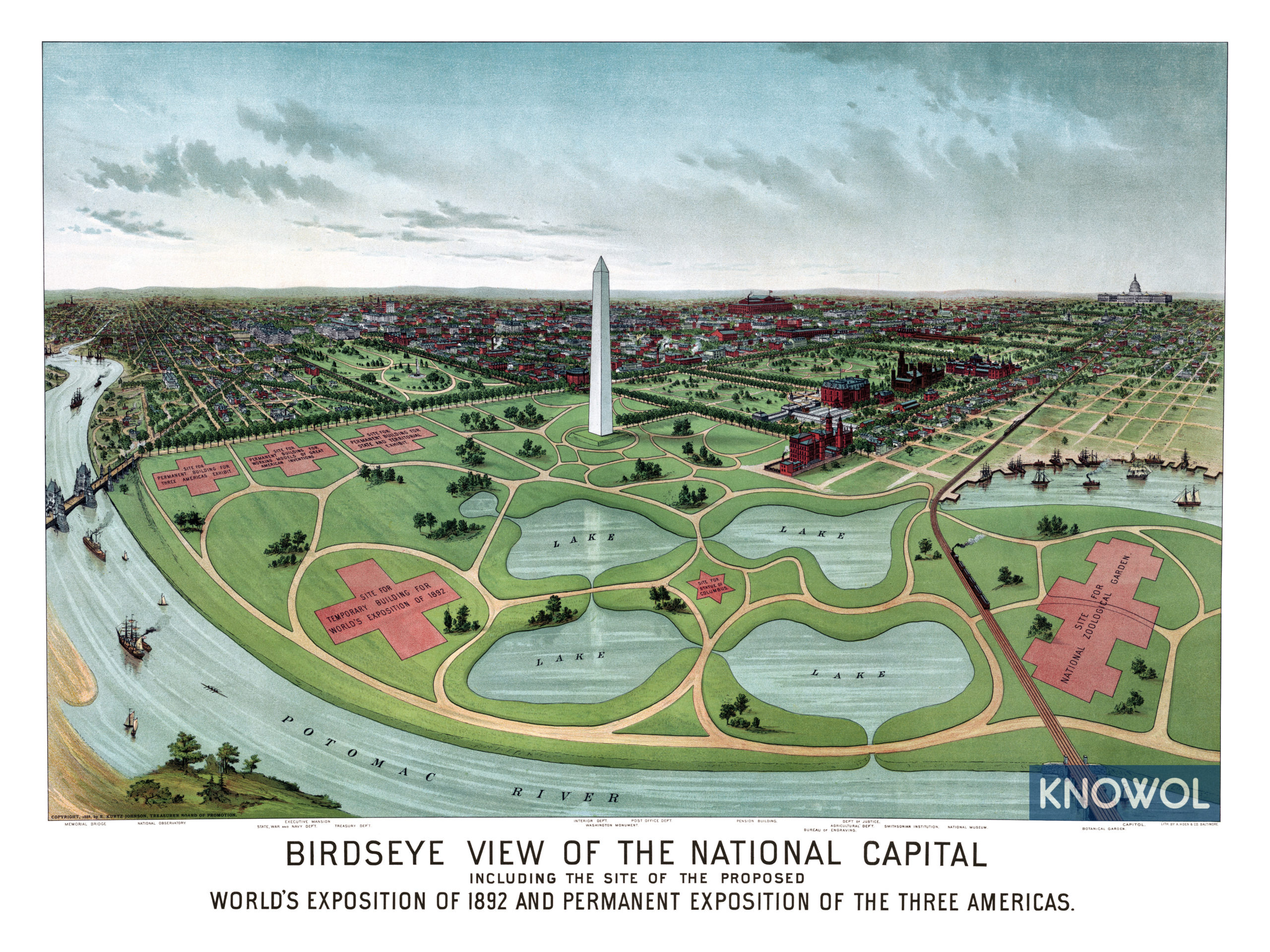Historic map of Washington D.C.\'s proposed World\'s Fair of 1892 - KNOWOL