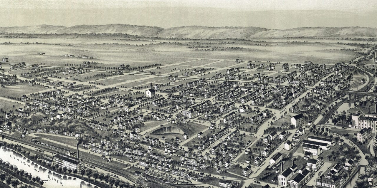 Beautifully restored map of West Bethlehem, PA from 1894