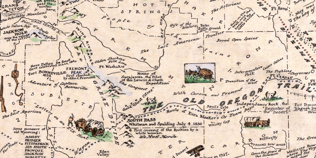 Map of the History and Romance of Wyoming, 1928