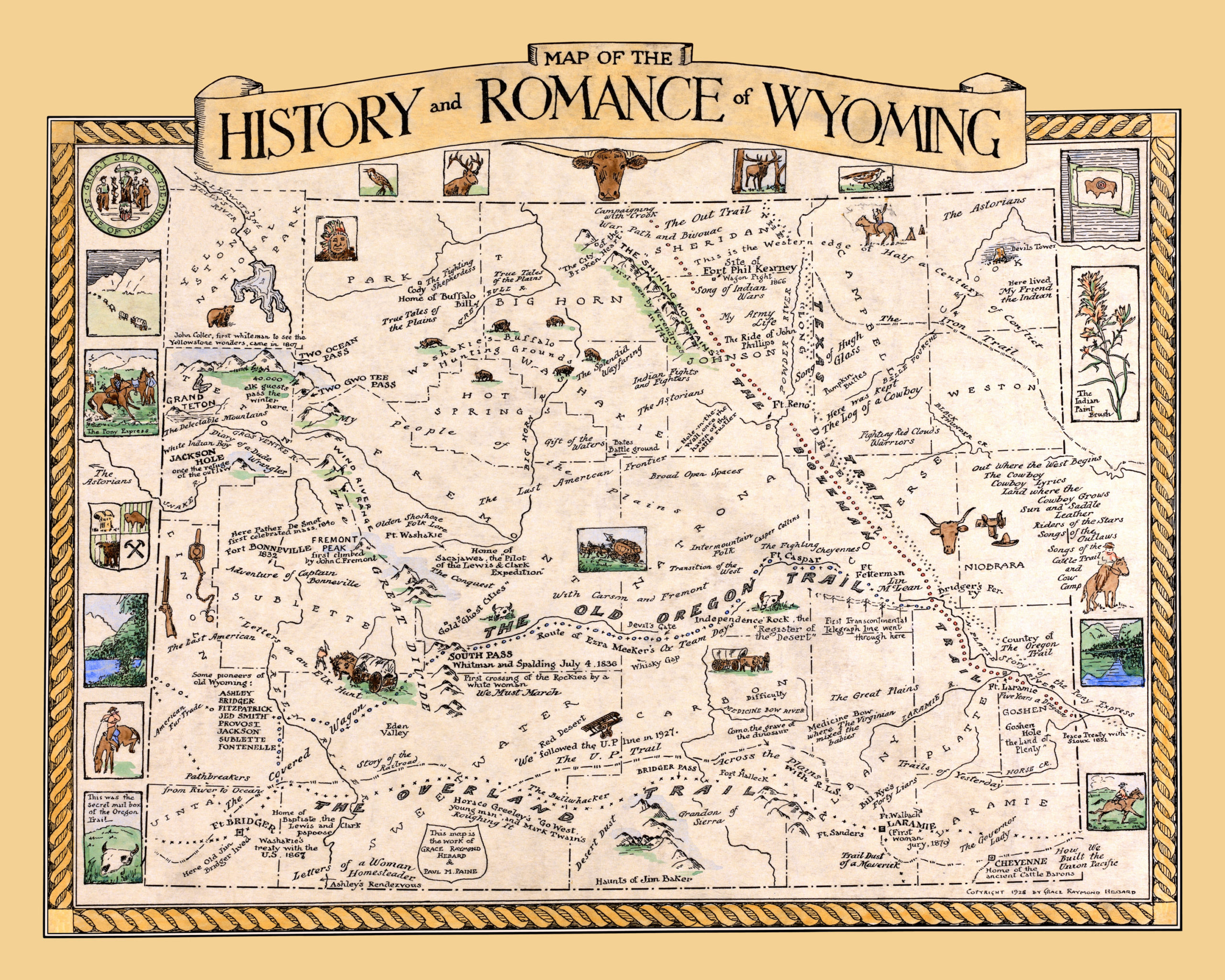 The History and Romance of Wyoming, beautifully detailed map