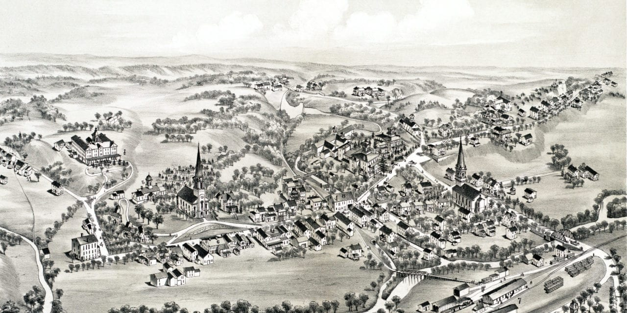 Beautifully detailed map of Blairstown, NJ from 1883