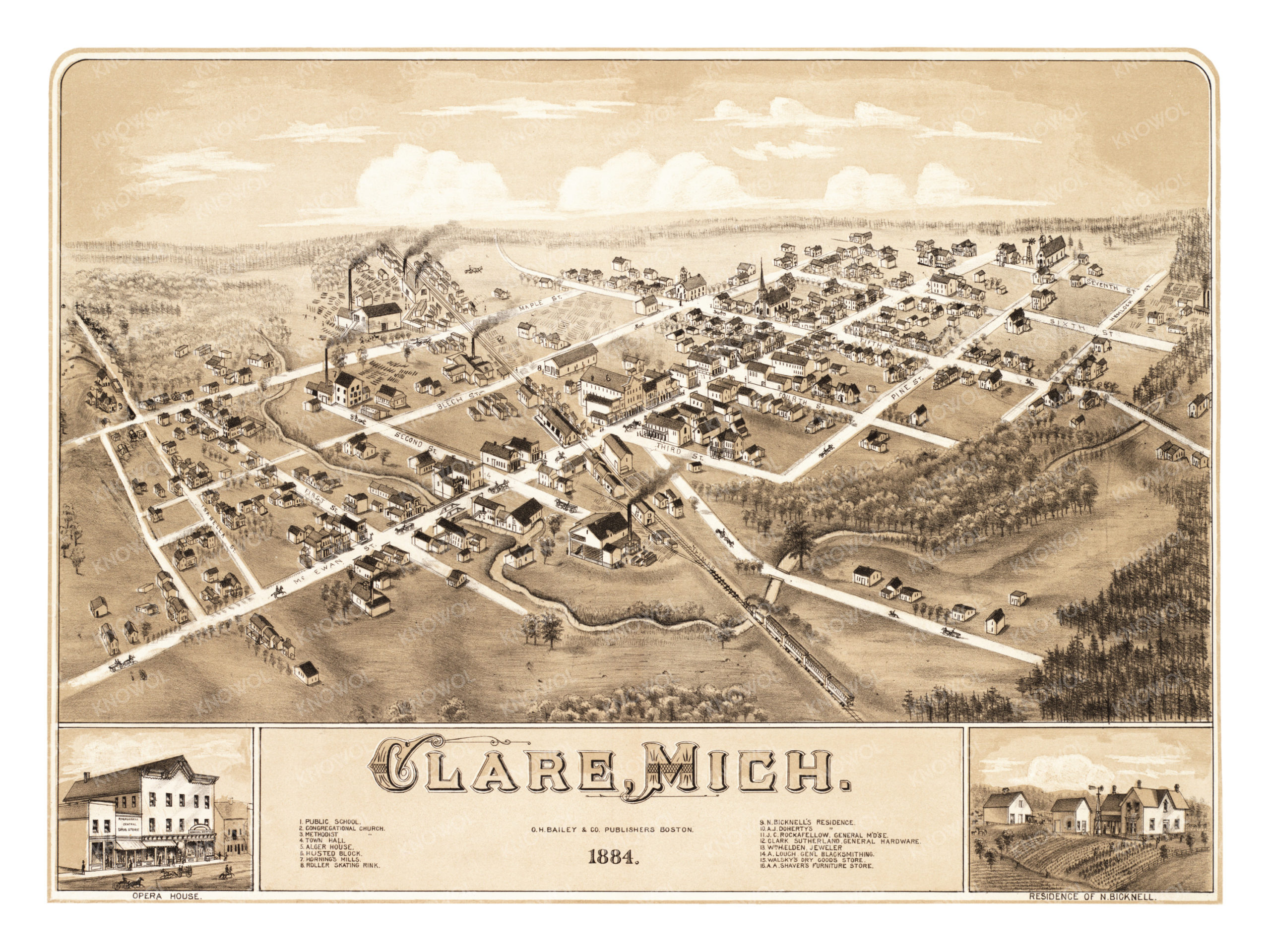 Detailed Michigan Map.Beautifully Detailed Map Of Clare Michigan From 1884 Knowol