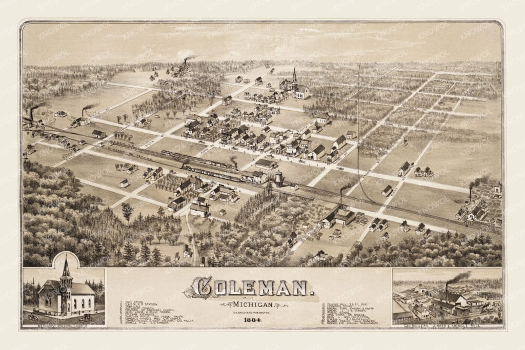 Beautiful Old Map Of Coleman Michigan From 1884