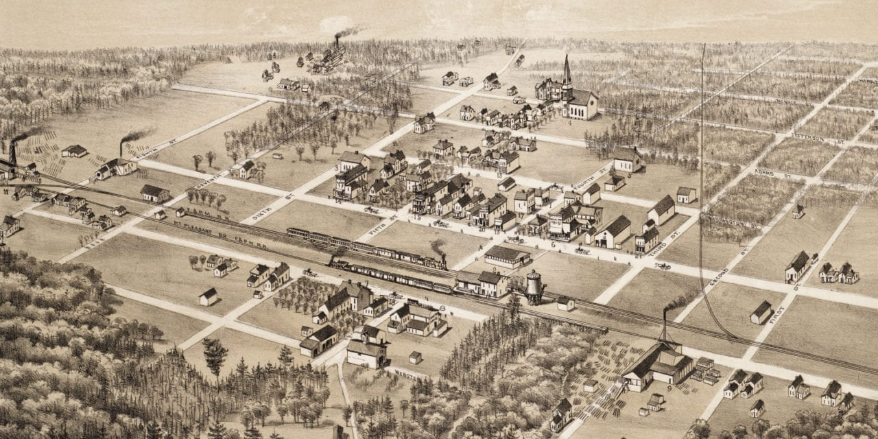 Beautiful old map of Coleman, Michigan from 1884