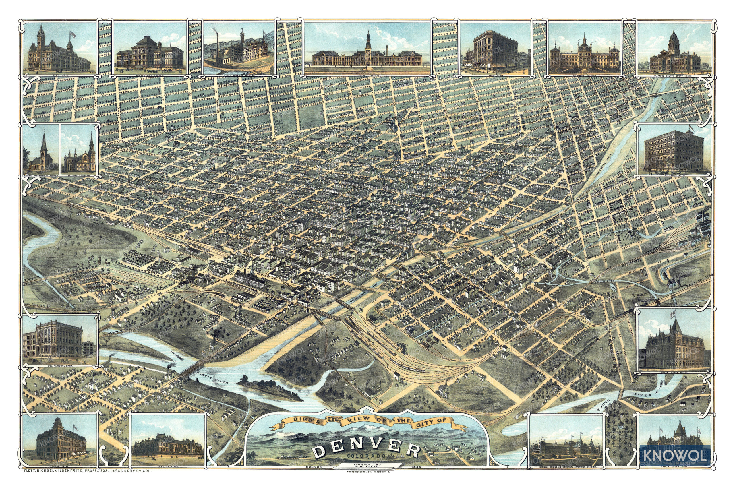 Beautifully restored map of Denver, Colorado from 1882 - KNOWOL