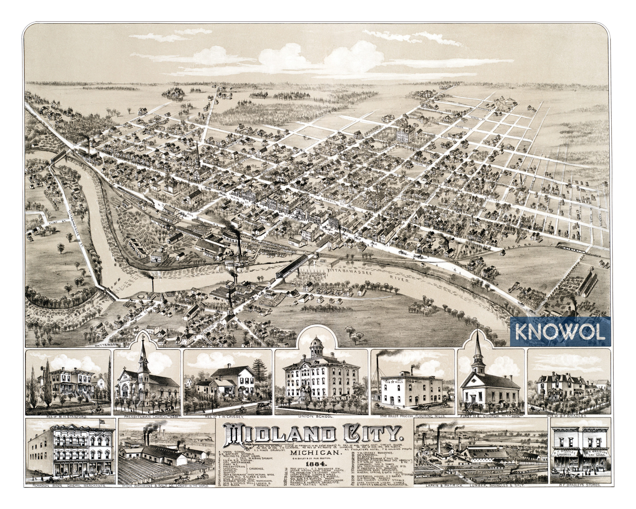 Beautifully Restored Map Of Midland Michigan From 1884 Knowol