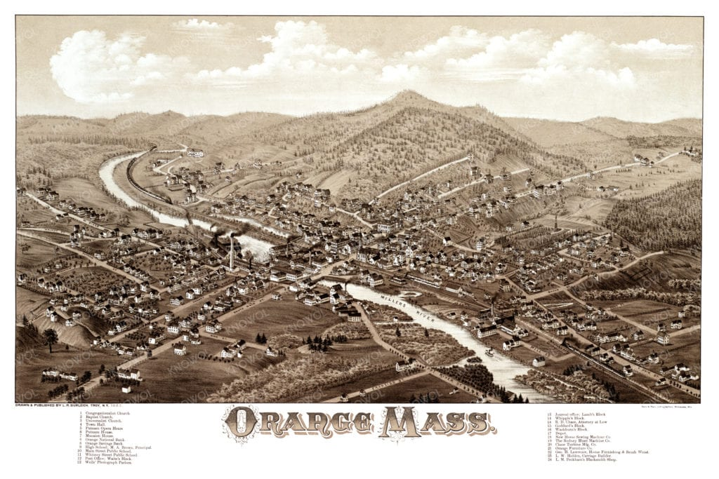 Beautifully Detailed Map Of Orange Ma From 1883 Knowol