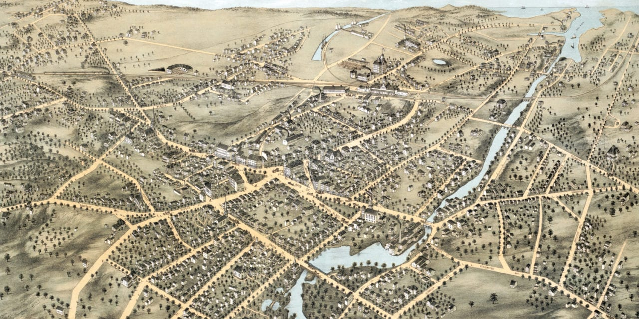 Beautifully detailed map of Stamford, CT from 1875