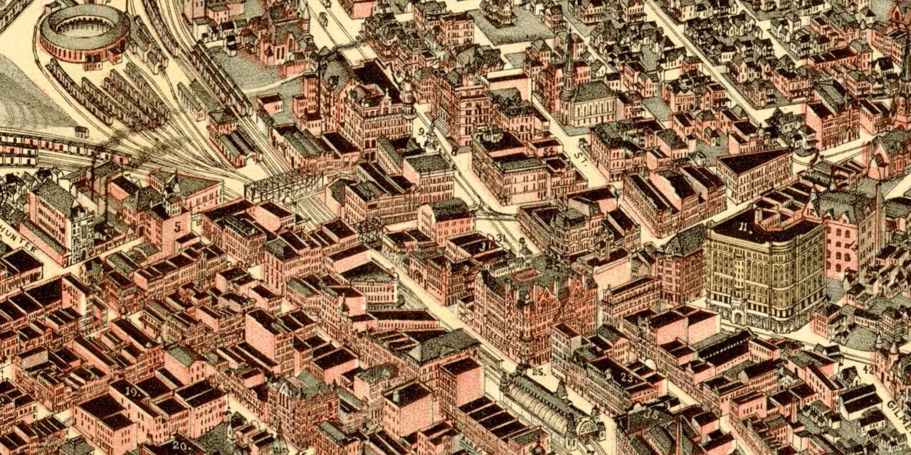 Beautifully restored map of Atlanta, Georgia from 1892
