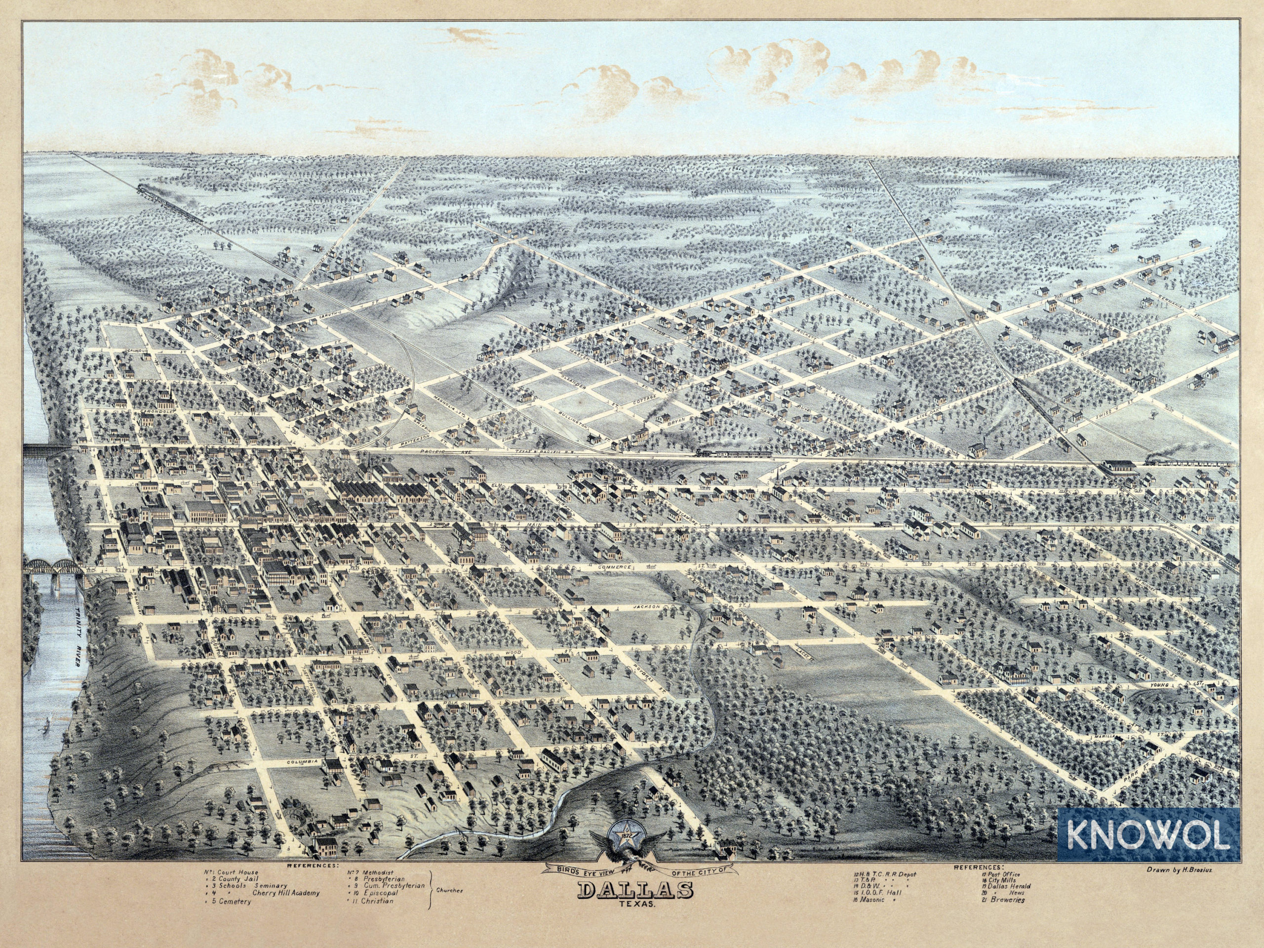 Beautifully detailed map of Dallas, Texas from 1872 - KNOWOL