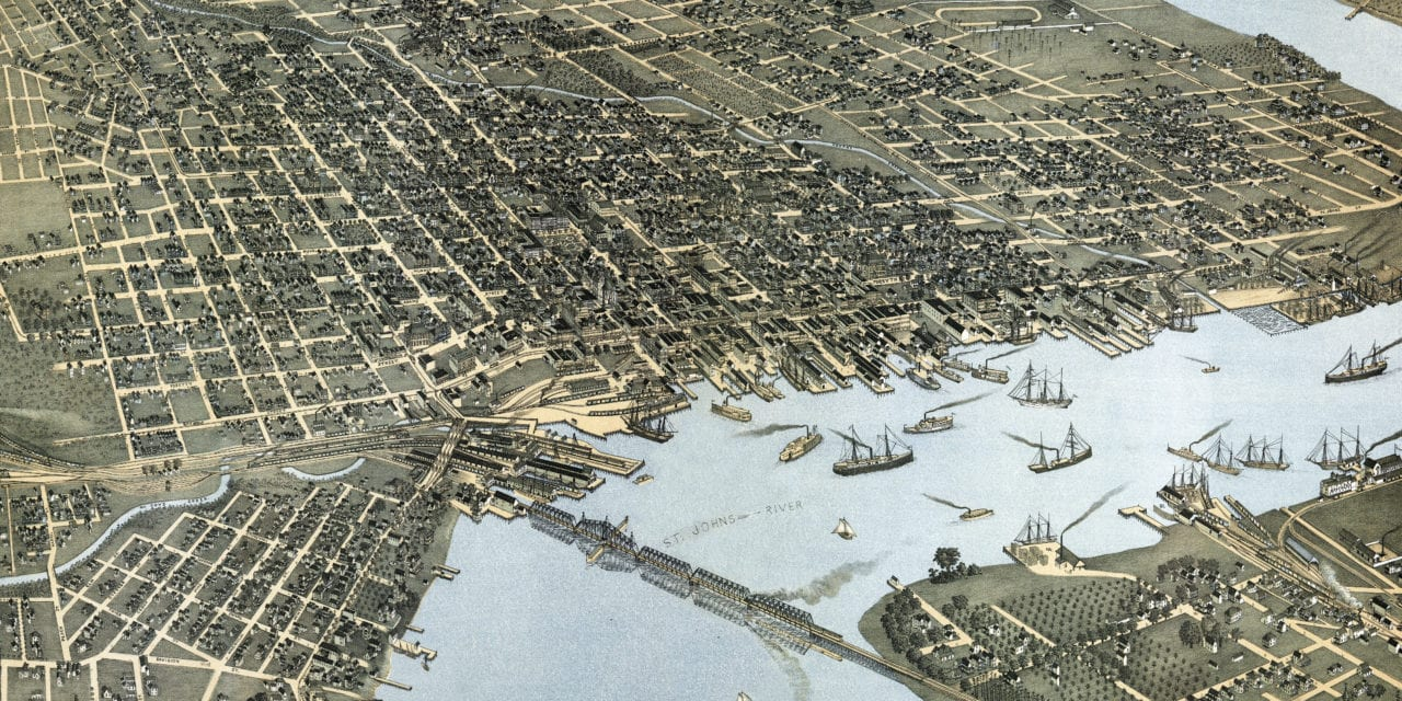 Beautifully restored map of Jacksonville, Florida in 1893