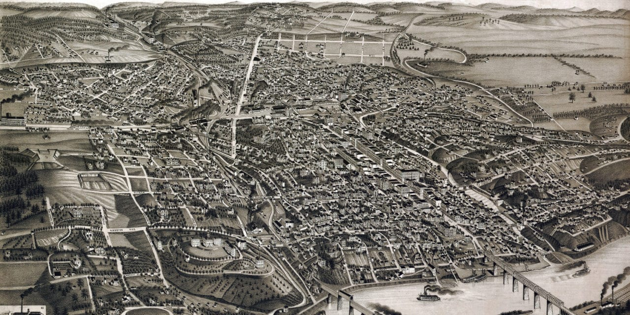 Beautifully detailed map of Knoxville, Tennessee in 1886