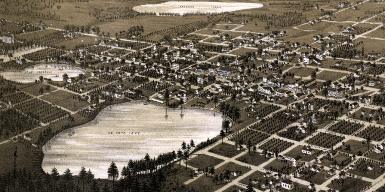 Beautifully restored map of Lake City, Florida in 1885