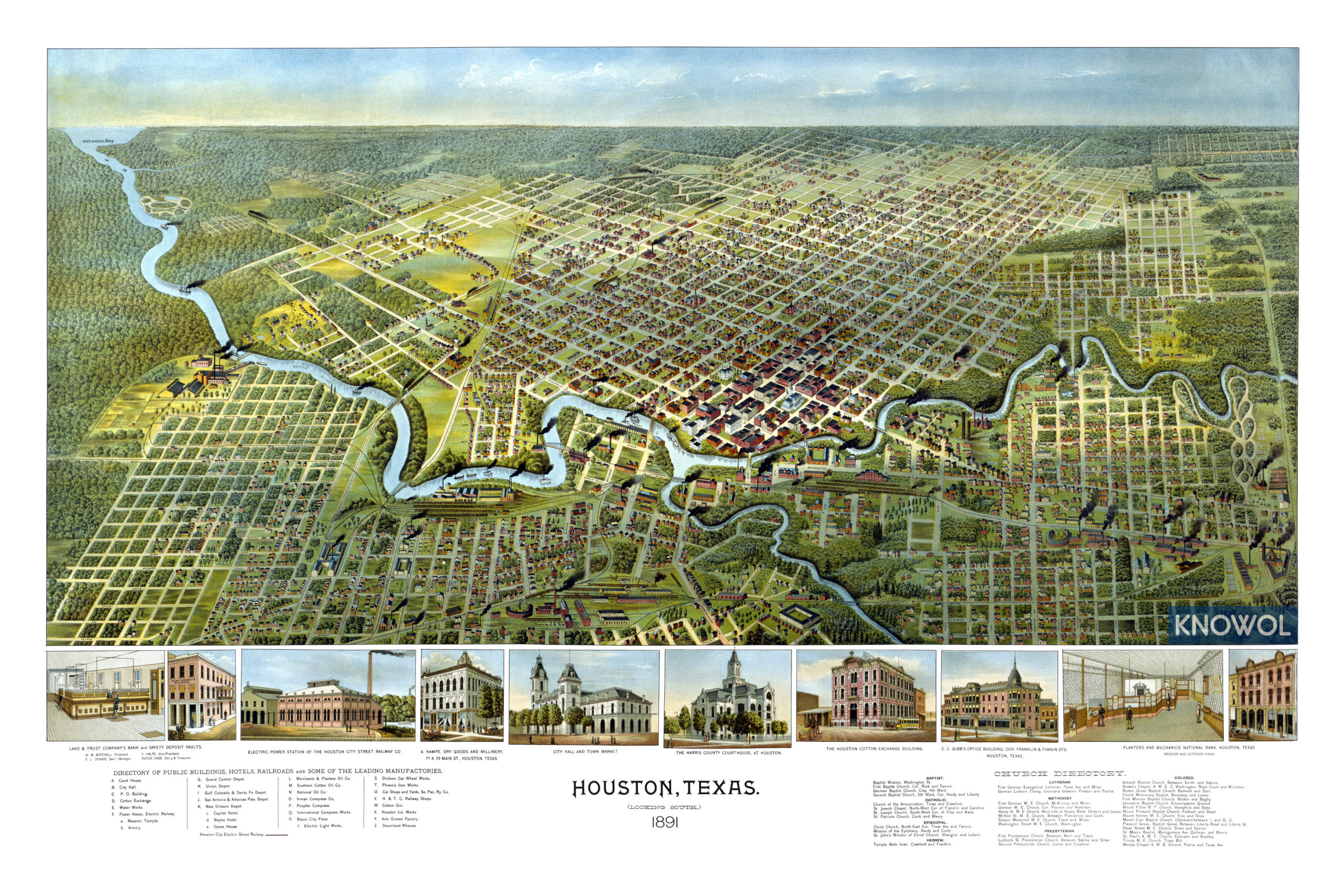 Beautifully detailed map of Houston, Texas from 1891 - KNOWOL