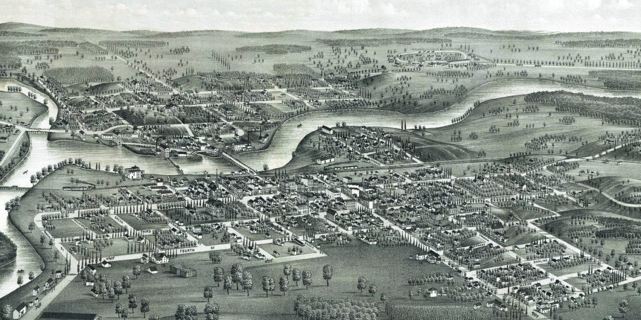Beautifully restored map of Jefferson, Wisconsin in 1880