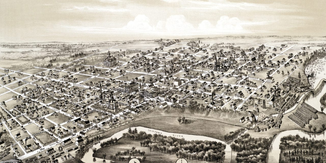 Beautifully restored map of Mt. Pleasant, Michigan from 1884