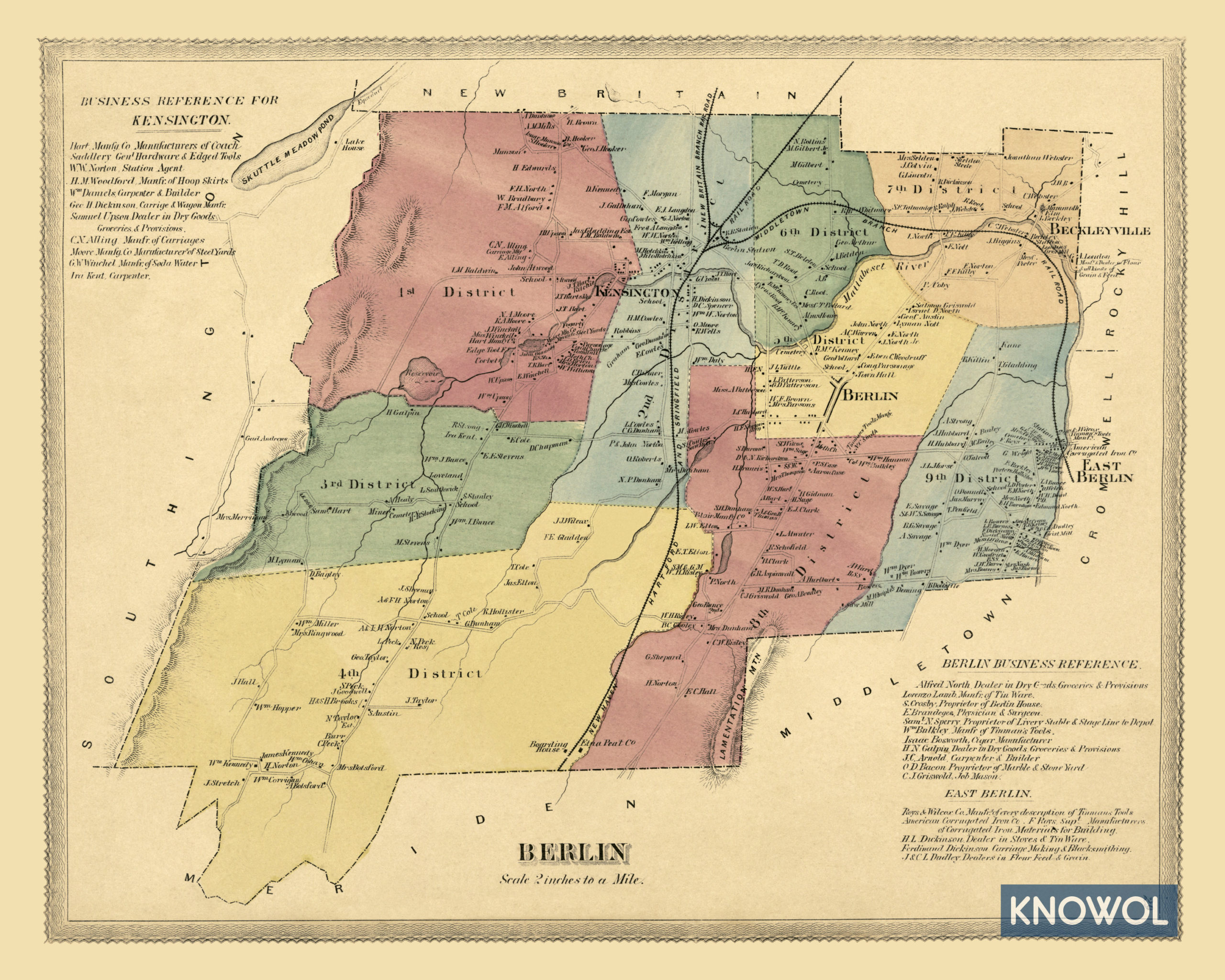 Historic landowners map of Berlin, CT from 1869 - KNOWOL