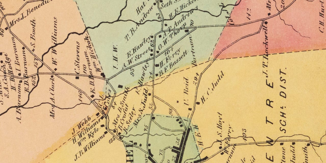Beautifully restored map of Bethel, Connecticut from 1867