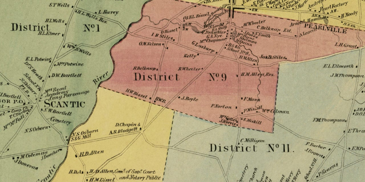 Historic landowners map of East Windsor, Connecticut from 1869