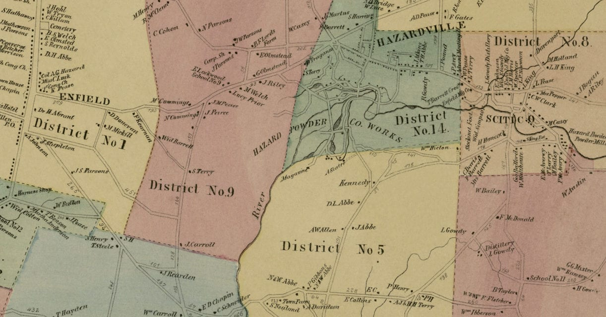 Historic landowners map of Enfield, Connecticut from 1869