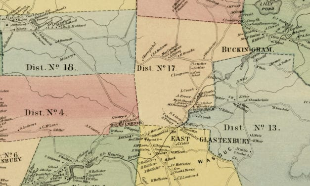 Historic landowners map of Glastonbury, CT from 1869