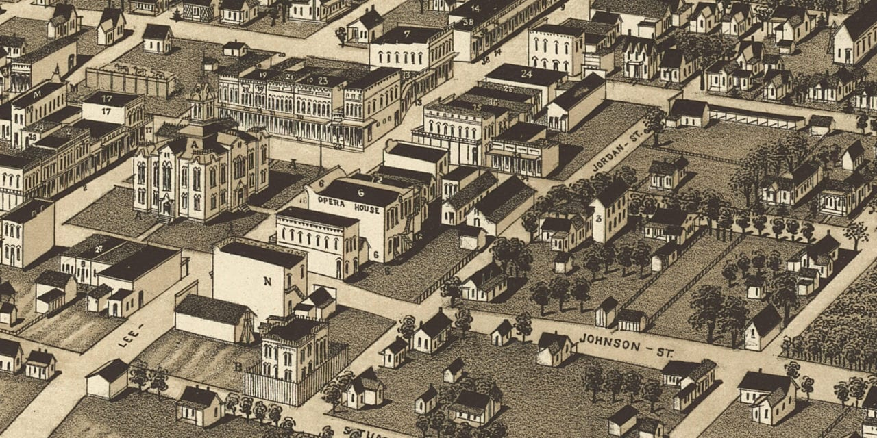 Beautifully restored map of Greenville, Texas from 1886
