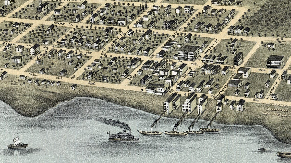 Beautifully restored map of Hudson, Wisconsin from 1870