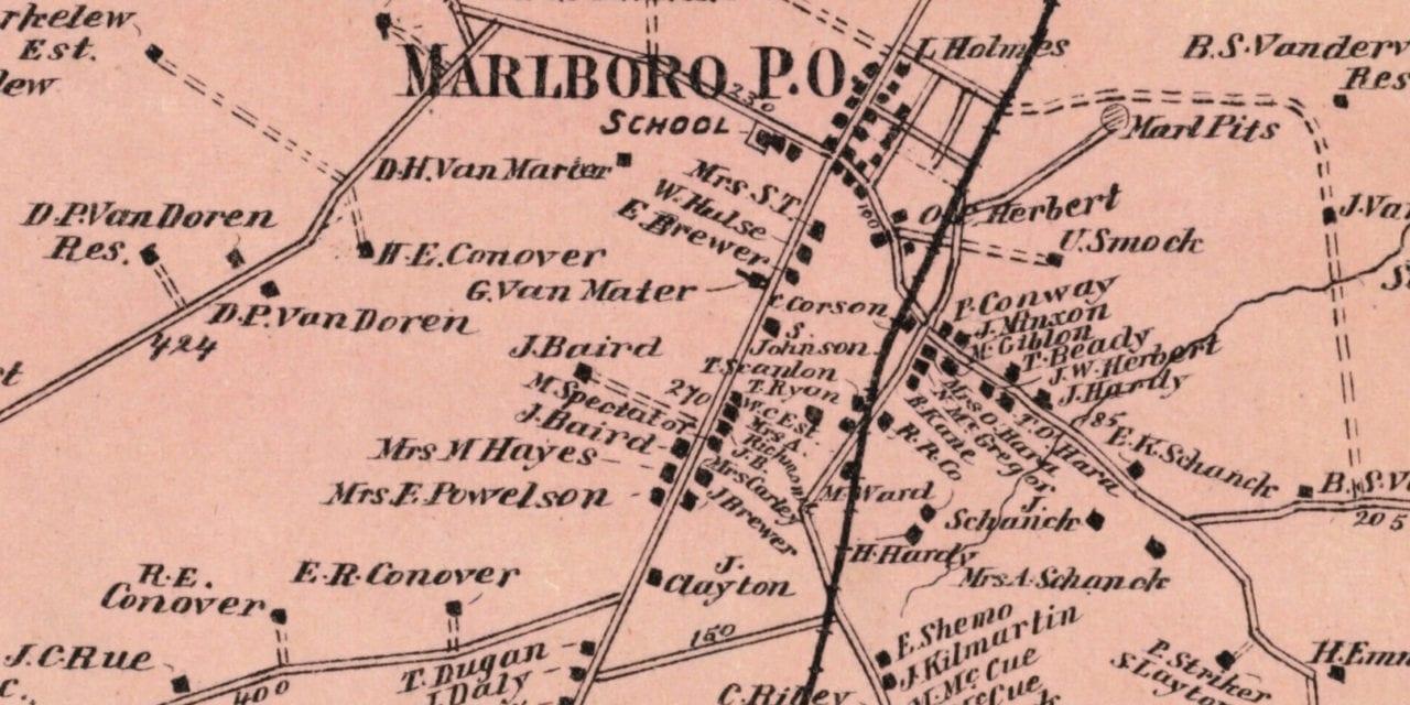 Beautifully restored map of Marlboro, NJ from 1873